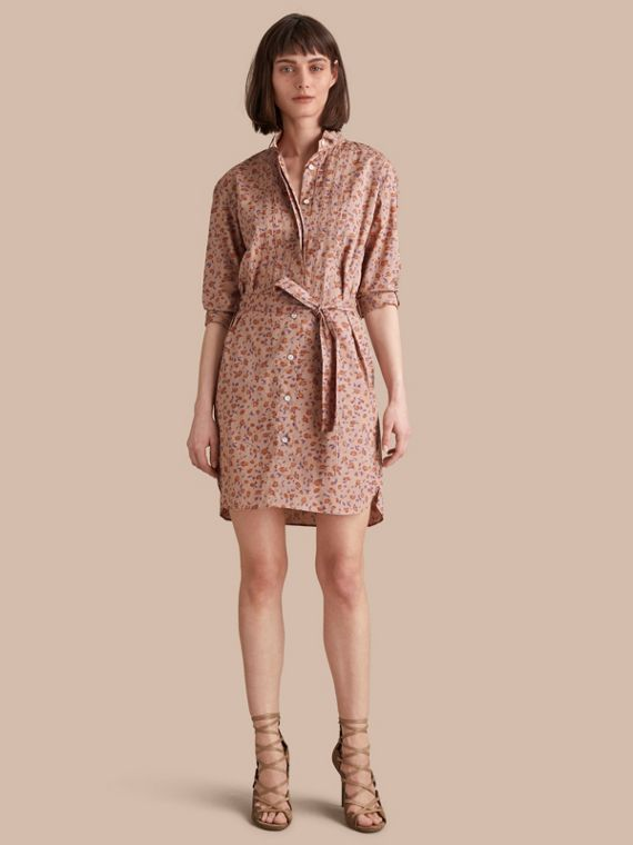 Tie-waist Floral Print Cotton Shirt Dress