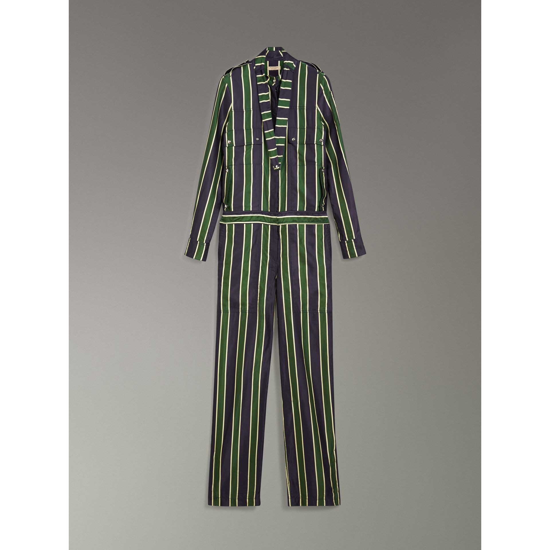 Striped Cotton Silk Jumpsuit in Navy Stripe - Women | Burberry Australia - gallery image 3