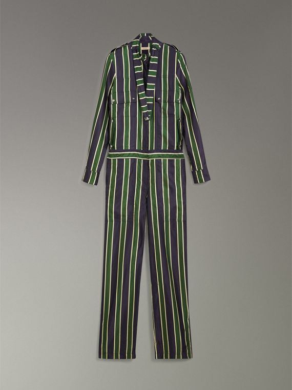 Striped Cotton Silk Jumpsuit in Navy Stripe - Women | Burberry - cell image 3
