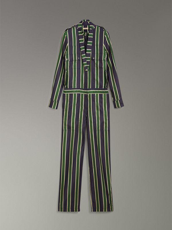 Striped Cotton Silk Jumpsuit in Navy Stripe - Women | Burberry United Kingdom - cell image 3