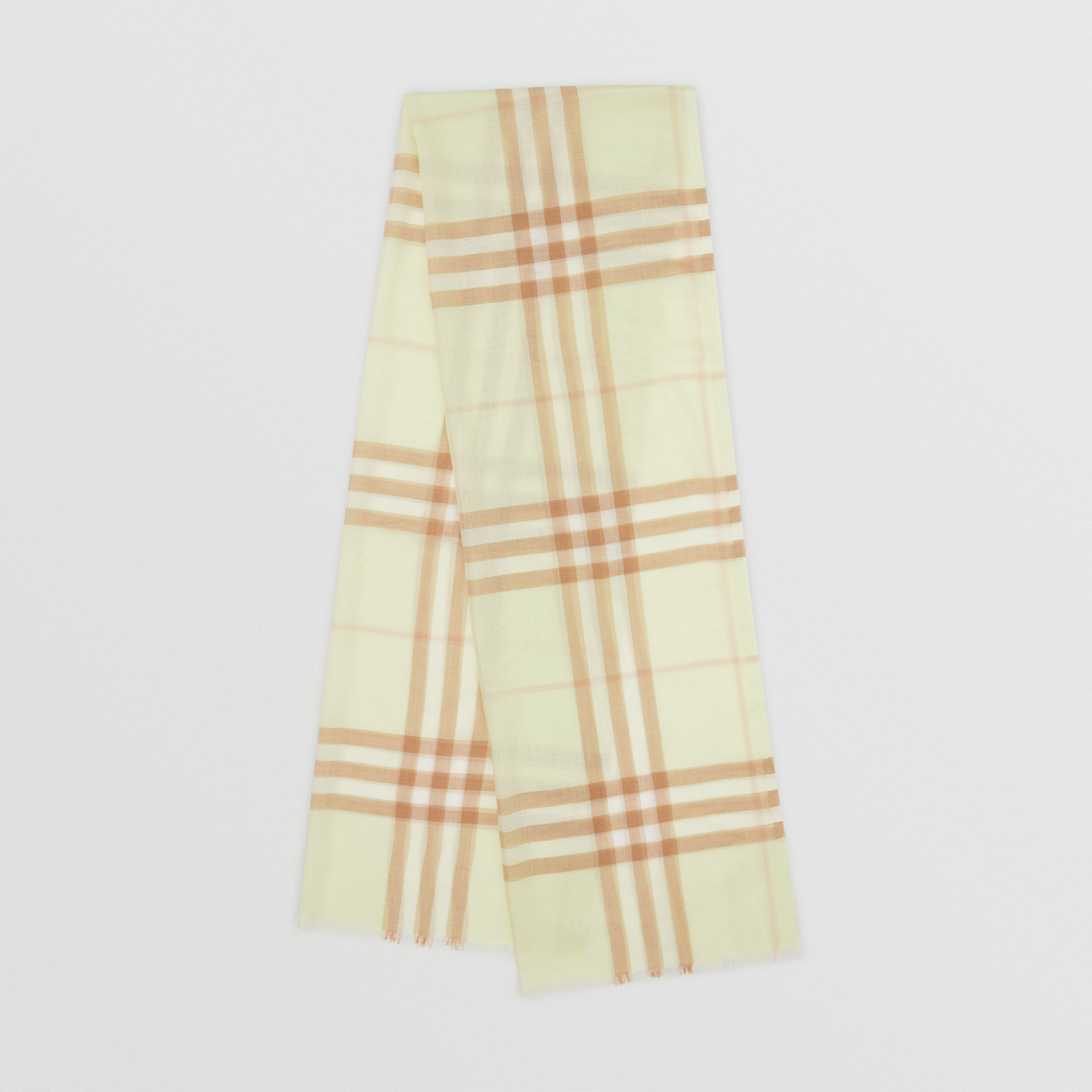 Lightweight Check Wool Silk Scarf in Pistachio | Burberry - gallery image 0