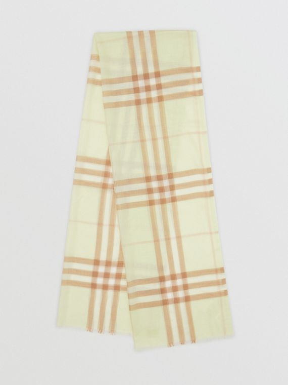 Lightweight Check Wool Silk Scarf in Pistachio