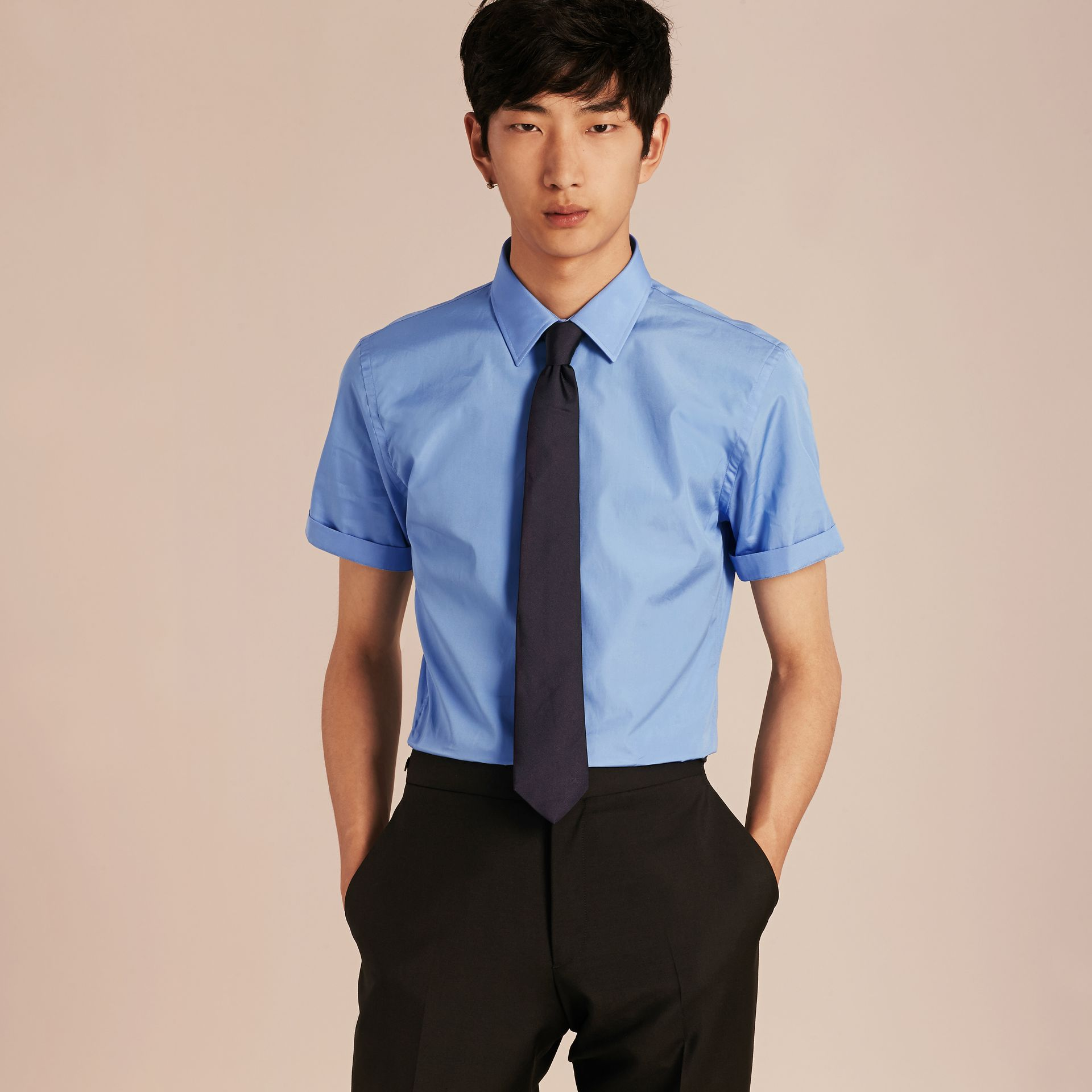 Mid blue Slim Fit Short-sleeved Cotton Poplin Shirt - gallery image 5