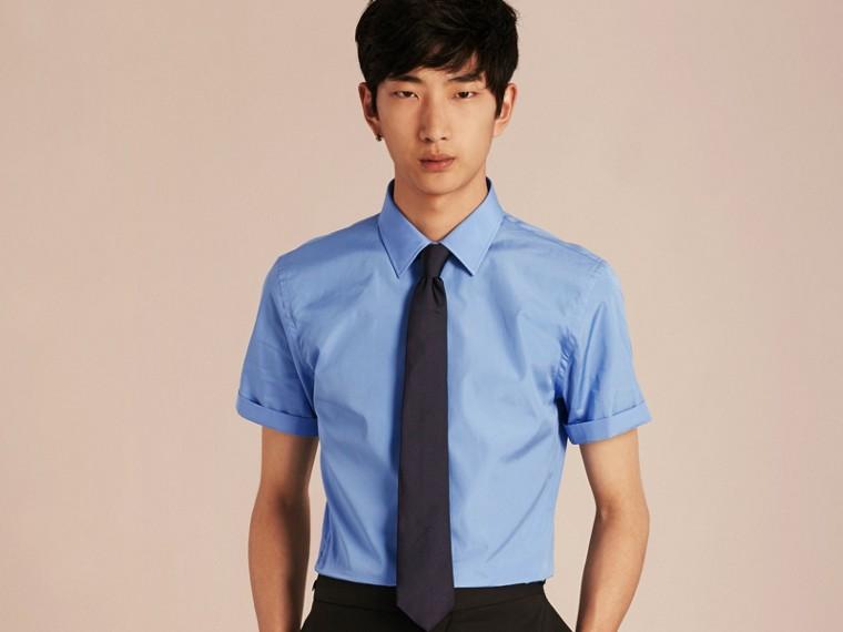 Slim Fit Short-sleeved Cotton Poplin Shirt - cell image 4