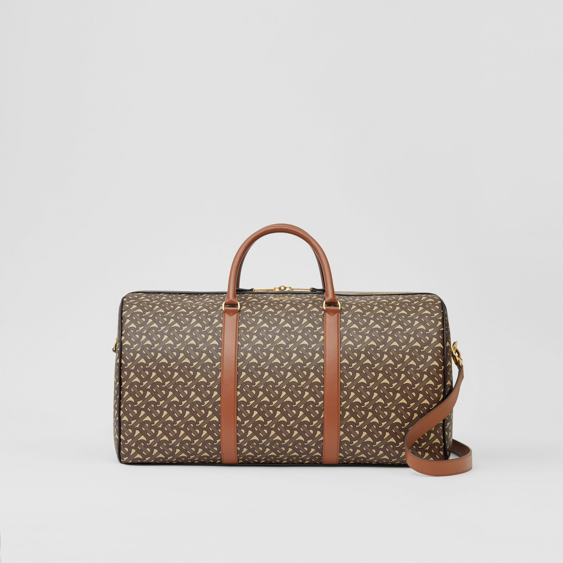 Monogram Print E-canvas and Leather Holdall in Bridle Brown - Men | Burberry - gallery image 0