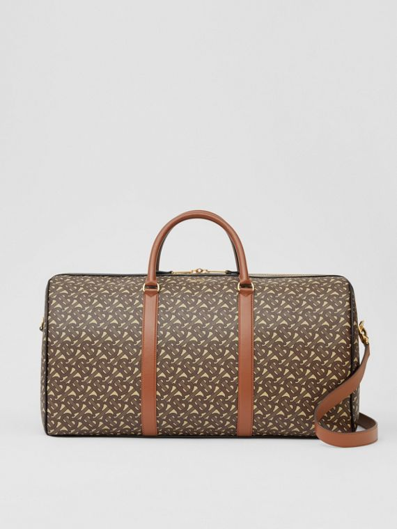 Monogram Print E-canvas and Leather Holdall in Bridle Brown