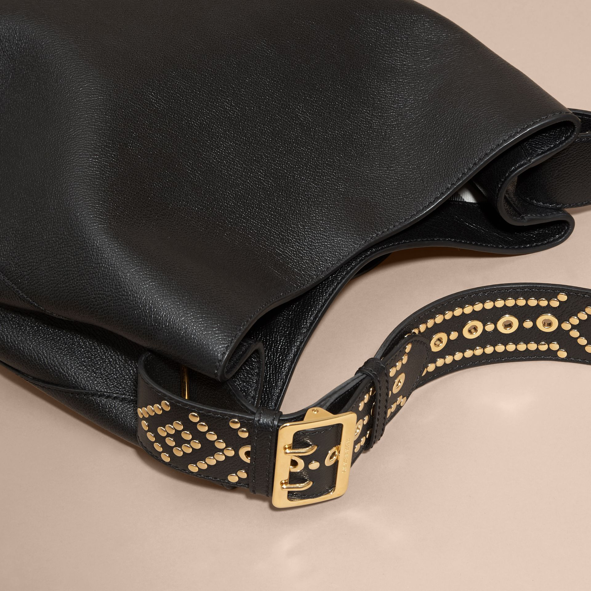 Black Stud Detail Textured Leather Shoulder Bag - gallery image 4