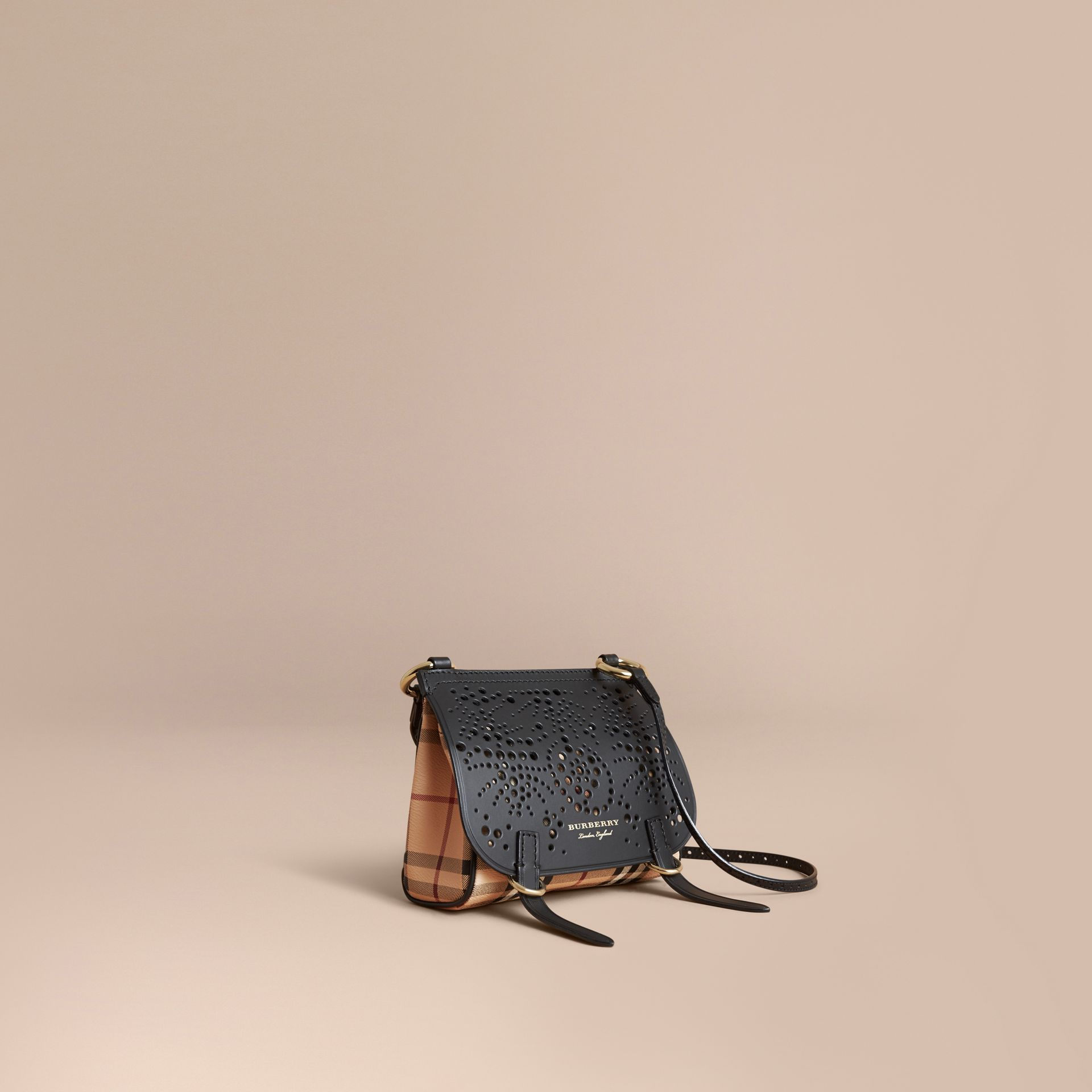 The Baby Bridle Bag in Leather and Haymarket Check in Black - gallery image 1