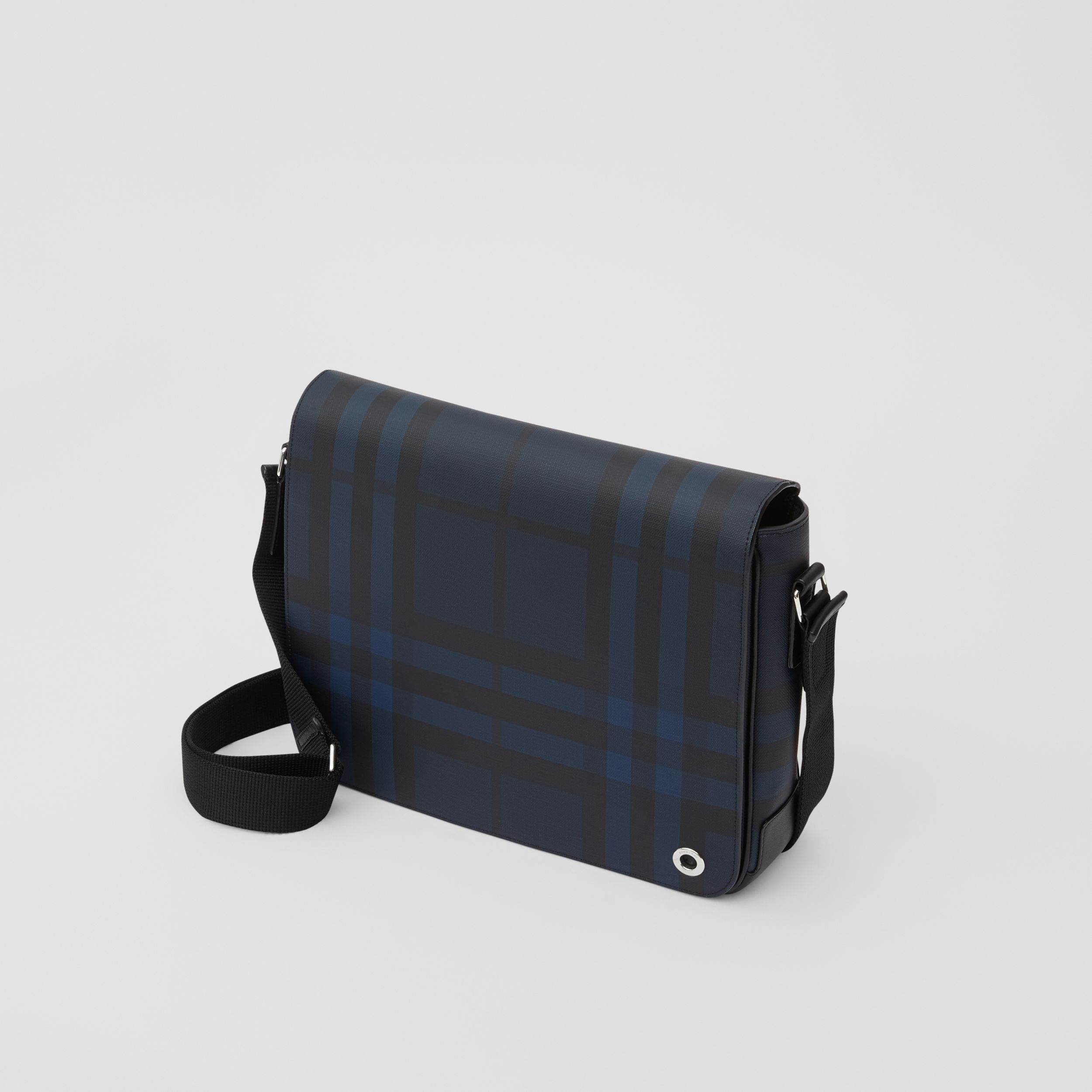 London Check and Leather Satchel in Navy - Men | Burberry - 4