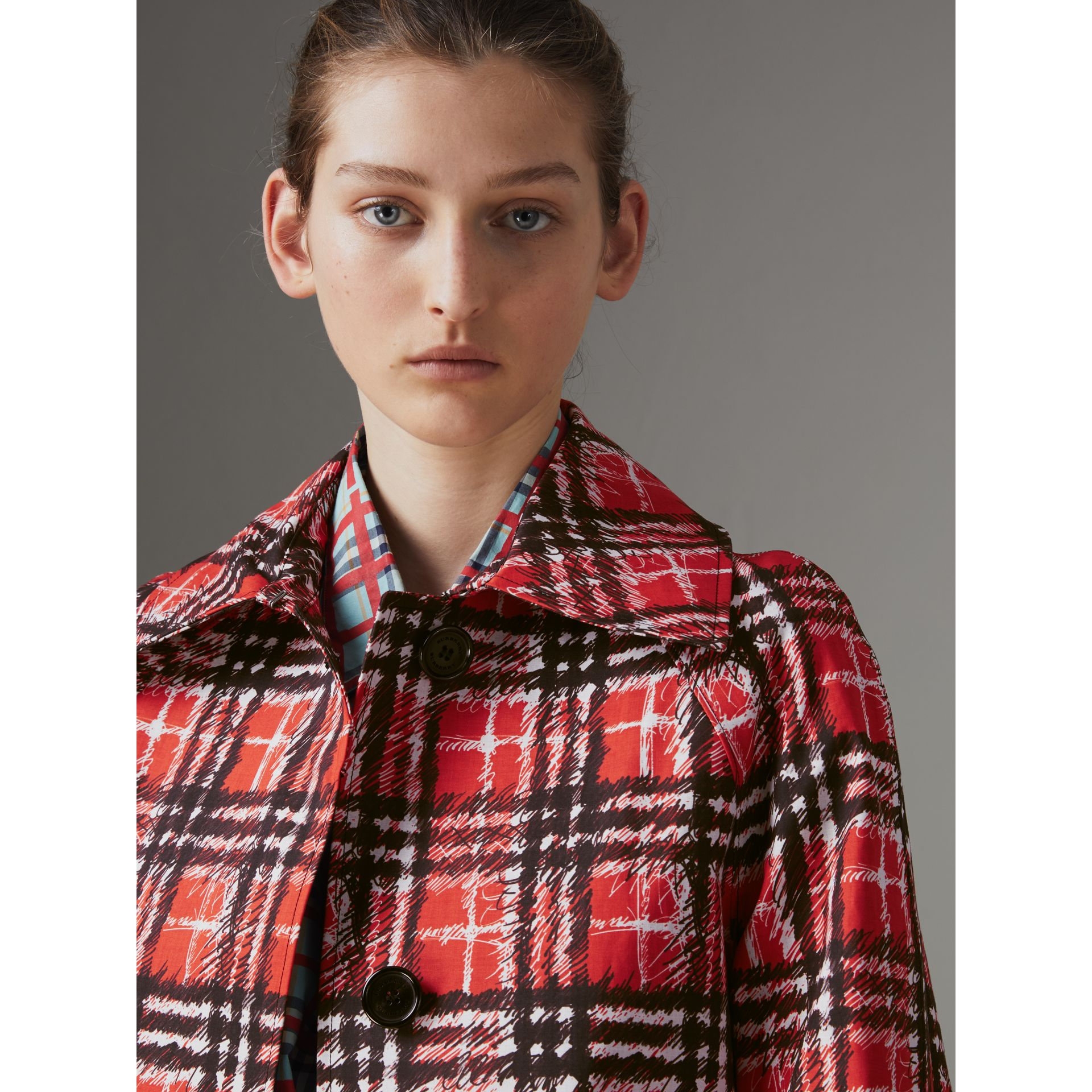 Scribble Check Bonded Cotton Car Coat in Bright Military Red - Women | Burberry Singapore - gallery image 1