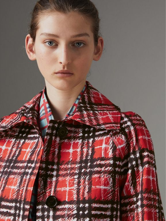 Scribble Check Bonded Cotton Car Coat in Bright Military Red - Women | Burberry - cell image 1