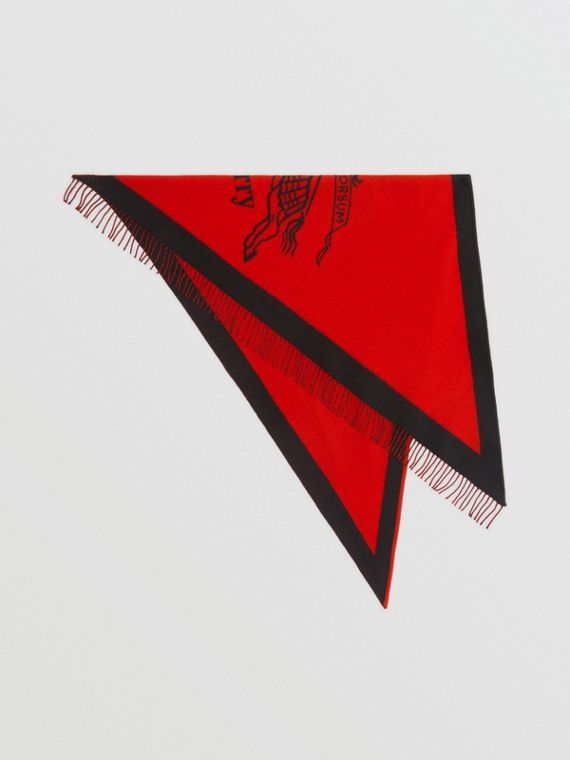 The Burberry Bandana in Crest Detail Wool Cashmere in Bright Orange Red