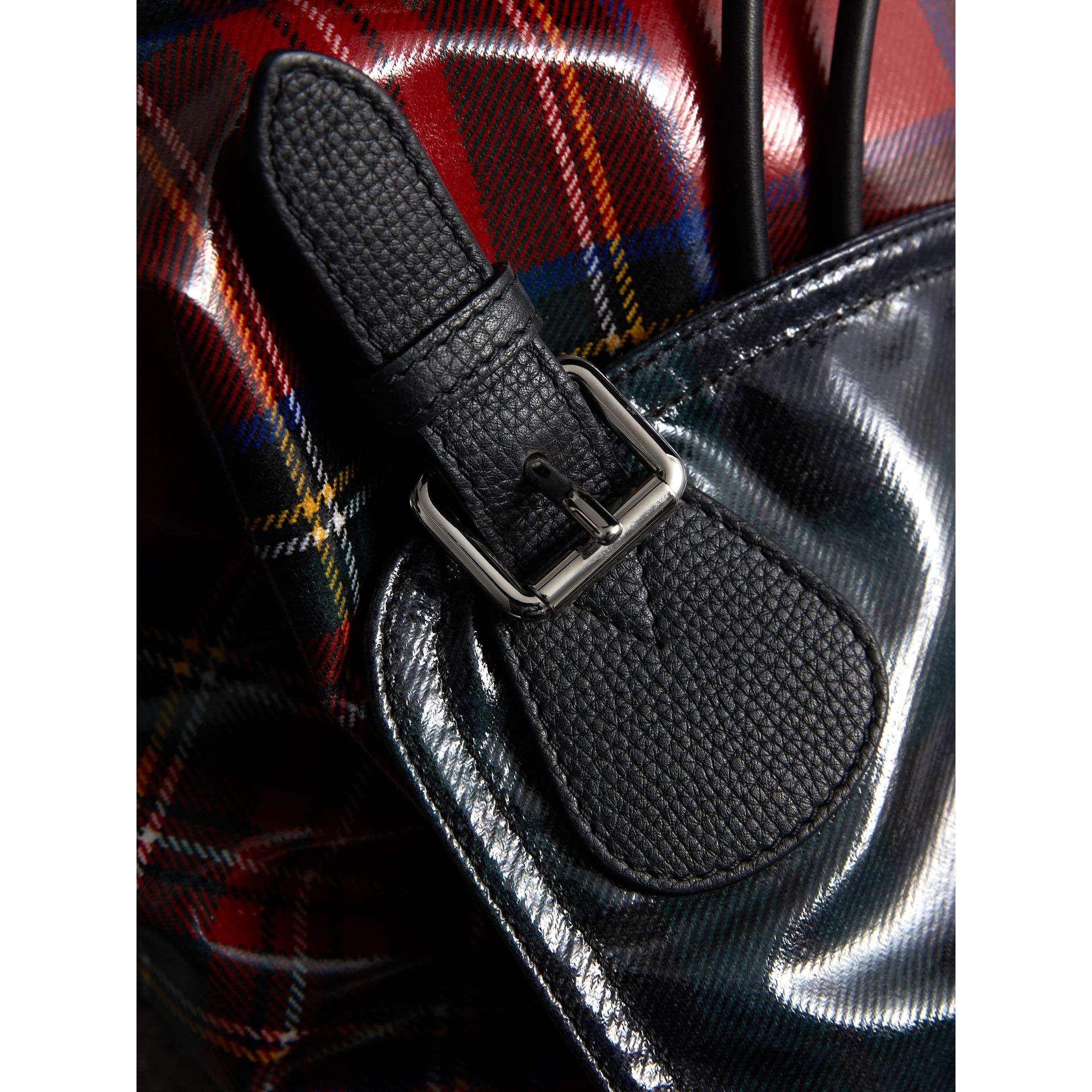 The Medium Rucksack in Laminated Tartan in Military Red | Burberry United Kingdom - gallery image 5