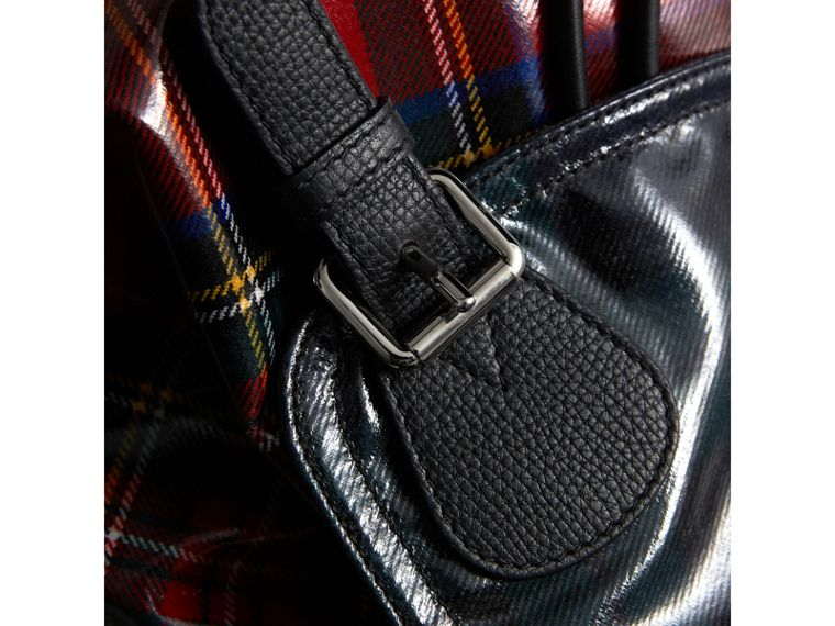 The Medium Rucksack in Laminated Tartan in Military Red | Burberry United Kingdom - cell image 4