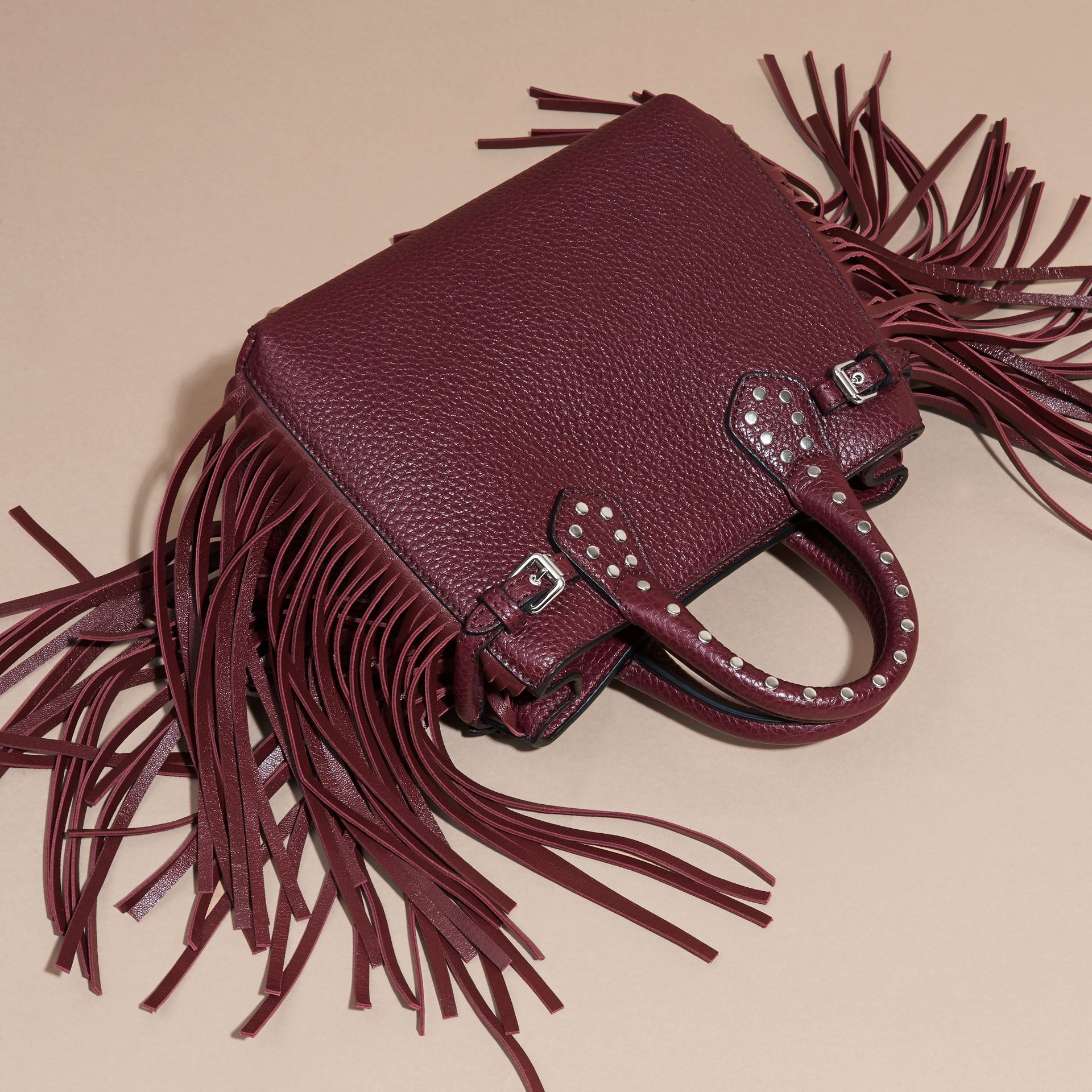 Dark damson The Baby Banner in Fringed Grainy Leather Dark Damson - gallery image 4