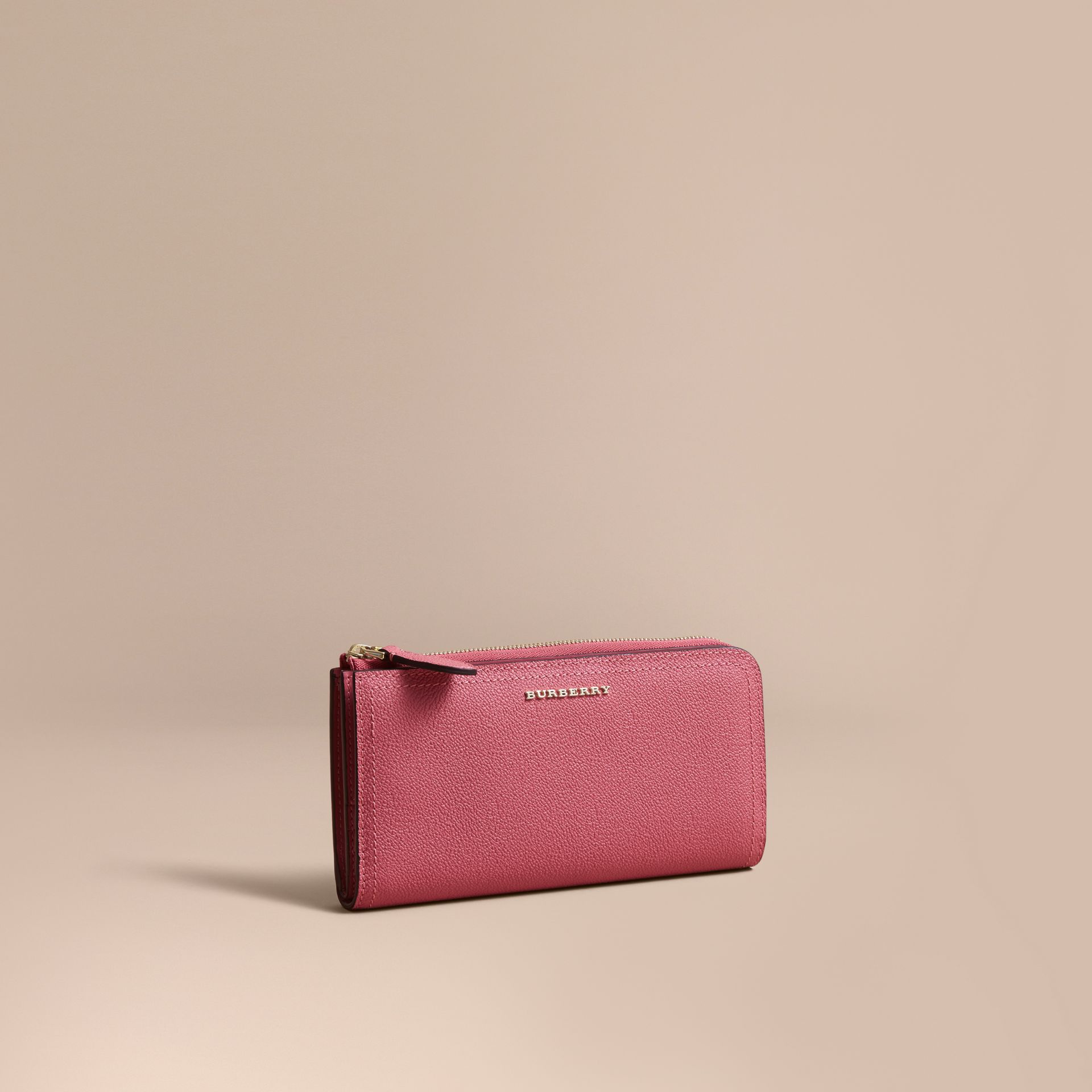Grainy Leather Ziparound Wallet Pink Azalea - gallery image 1