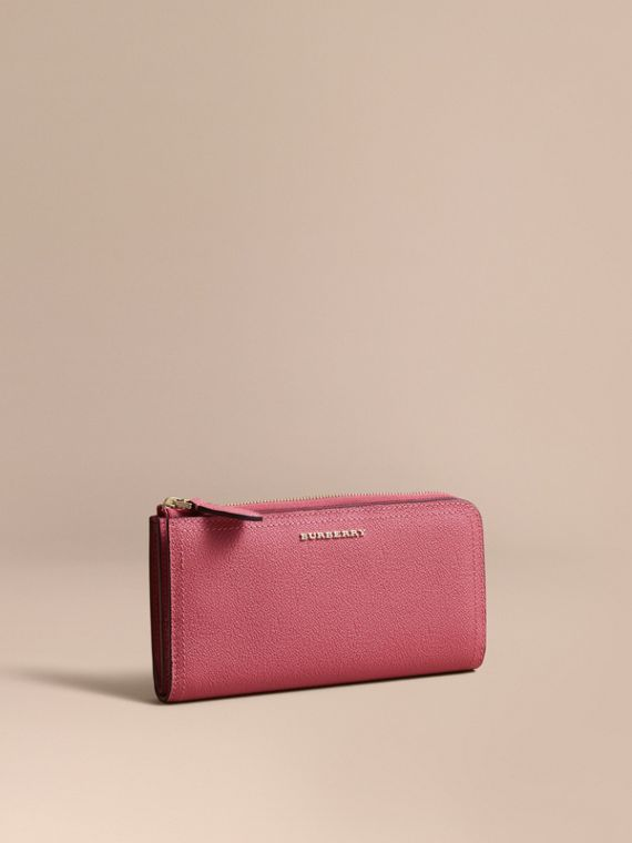 Grainy Leather Ziparound Wallet in Pink Azalea