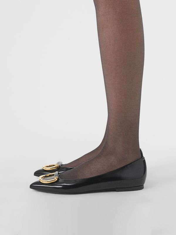 The Leather D-ring Flat in Black/gold - Women | Burberry Hong Kong - cell image 2