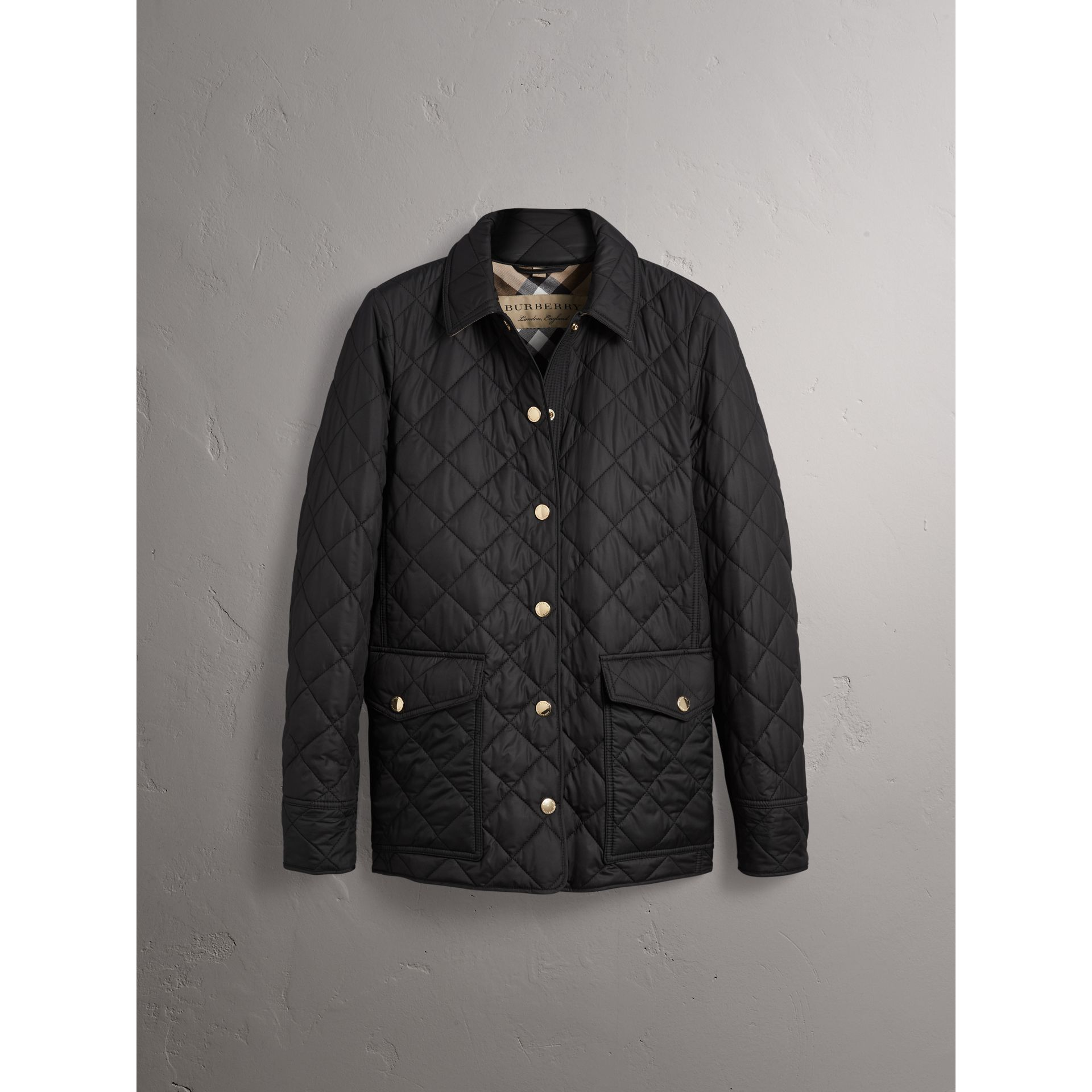 Check Detail Diamond Quilted Jacket in Black - Women | Burberry - gallery image 4