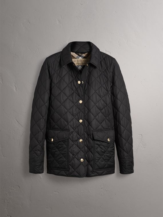 Check Detail Diamond Quilted Jacket in Black - Women | Burberry - cell image 3