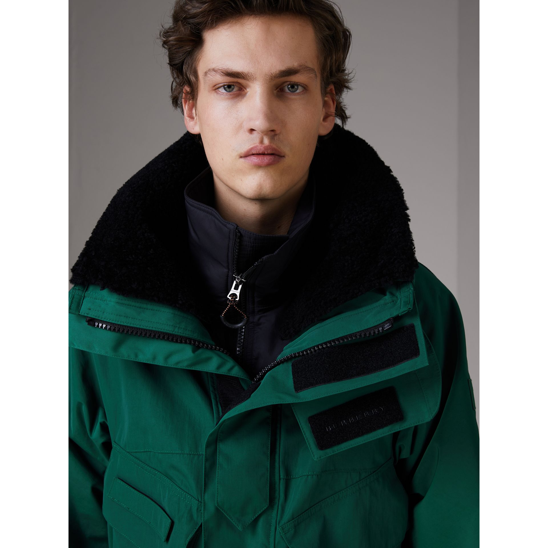 Detachable Shearling Collar Modular Jacket with Warmer in Sea Green - Men | Burberry - gallery image 1