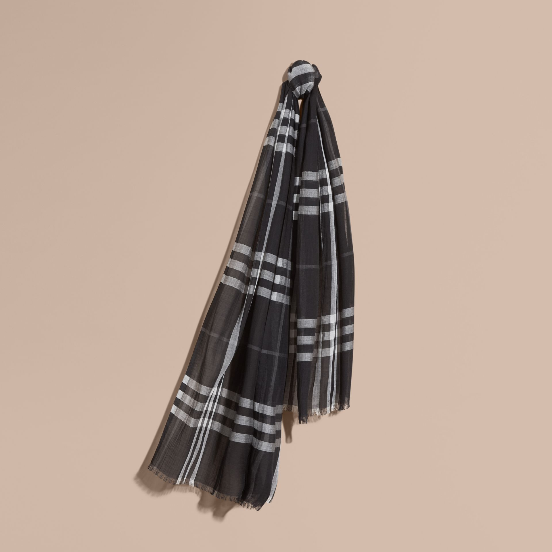 Lightweight Check Wool and Silk Scarf in Black - gallery image 1
