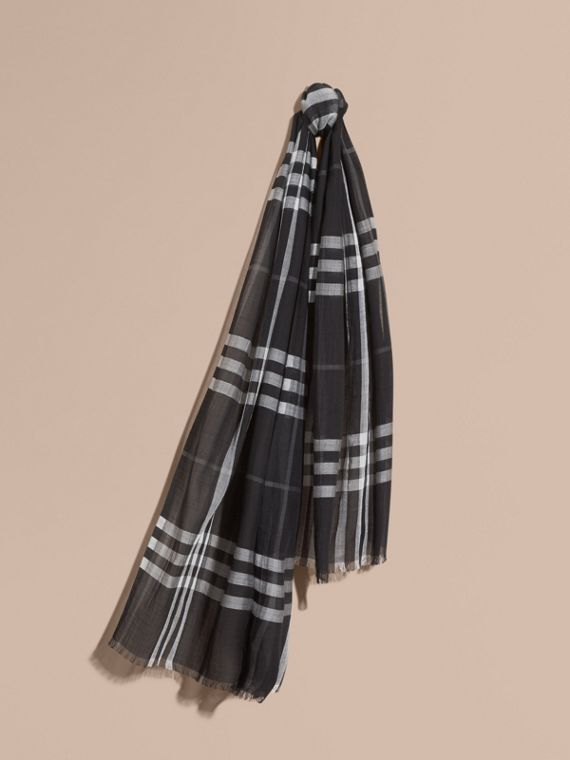 Lightweight Check Wool and Silk Scarf Black