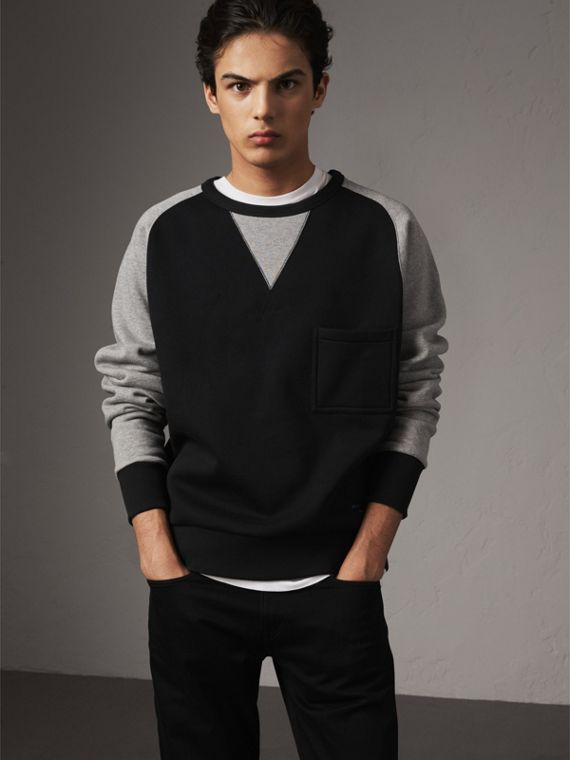 Two-tone Cotton Blend Sweatshirt in Black
