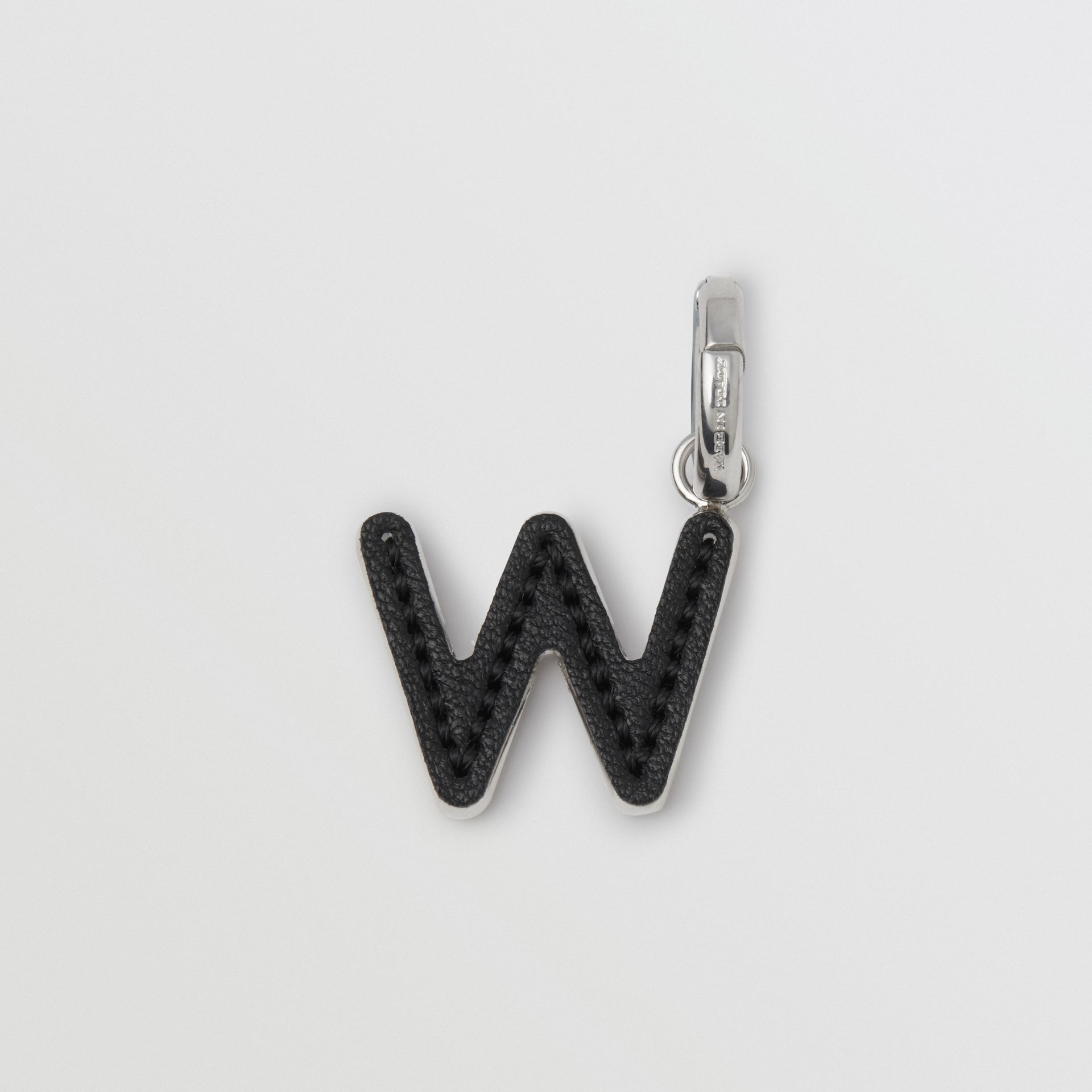 Leather-topstitched 'W' Alphabet Charm in Palladio/black - Women | Burberry - gallery image 3