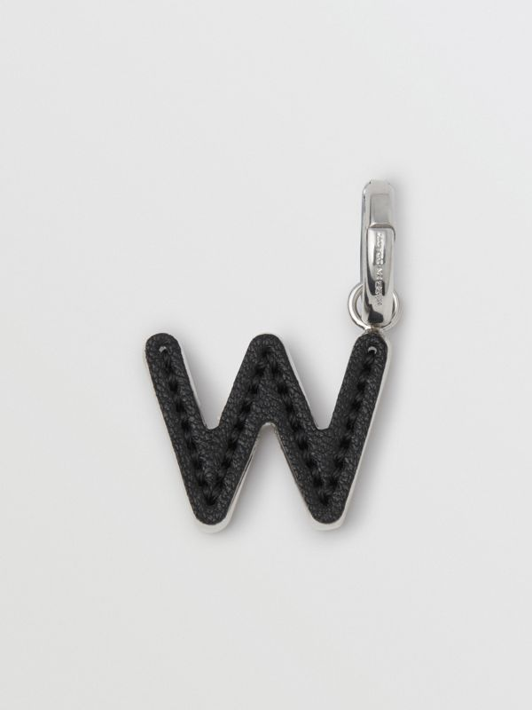 Leather-topstitched 'W' Alphabet Charm in Palladio/black - Women | Burberry - cell image 3