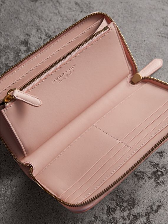 Embossed Leather Ziparound Wallet in Pale Ash Rose - Women | Burberry Canada - cell image 3