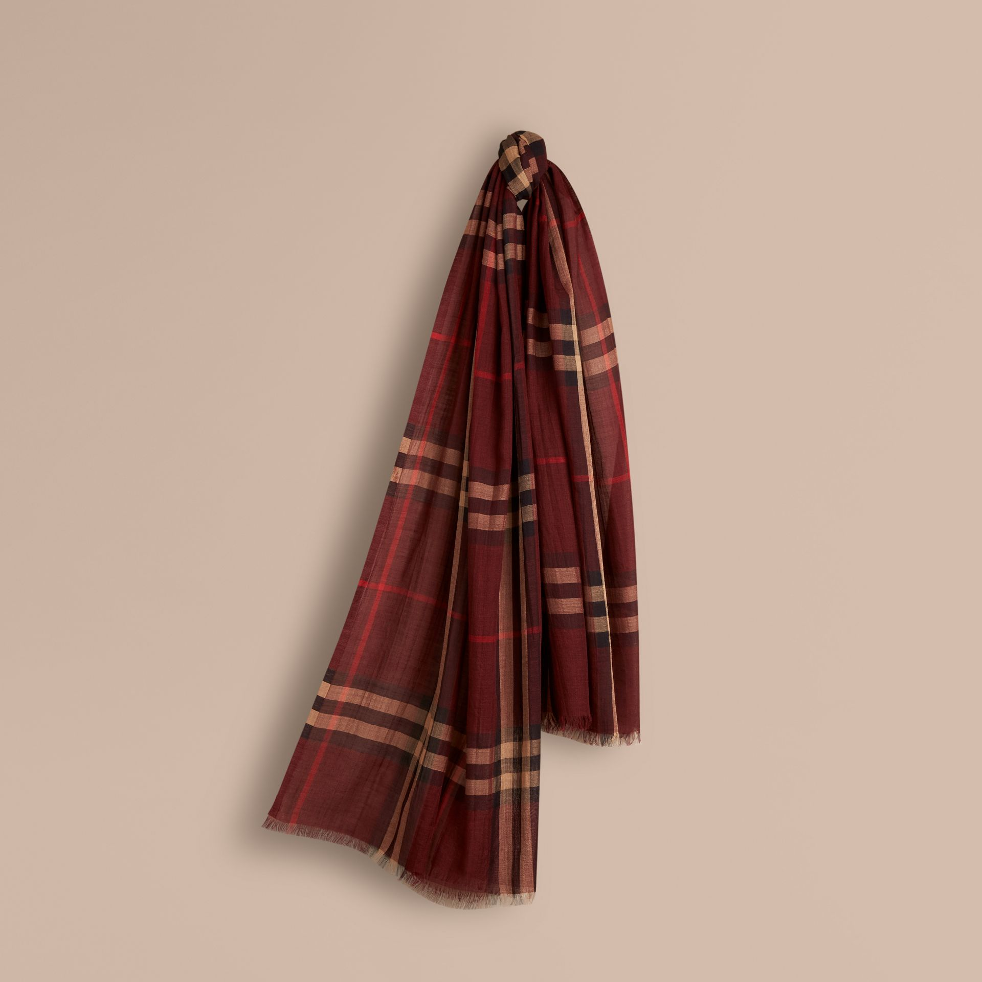 Claret Lightweight Check Wool and Silk Scarf Claret - gallery image 1
