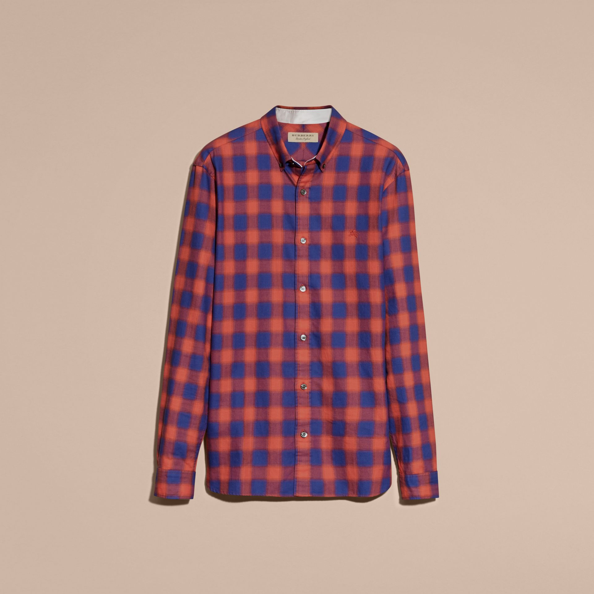 Orange red Gingham Check Cotton Shirt Orange Red - gallery image 4