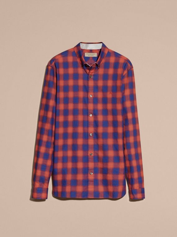 Orange red Gingham Check Cotton Shirt Orange Red - cell image 3
