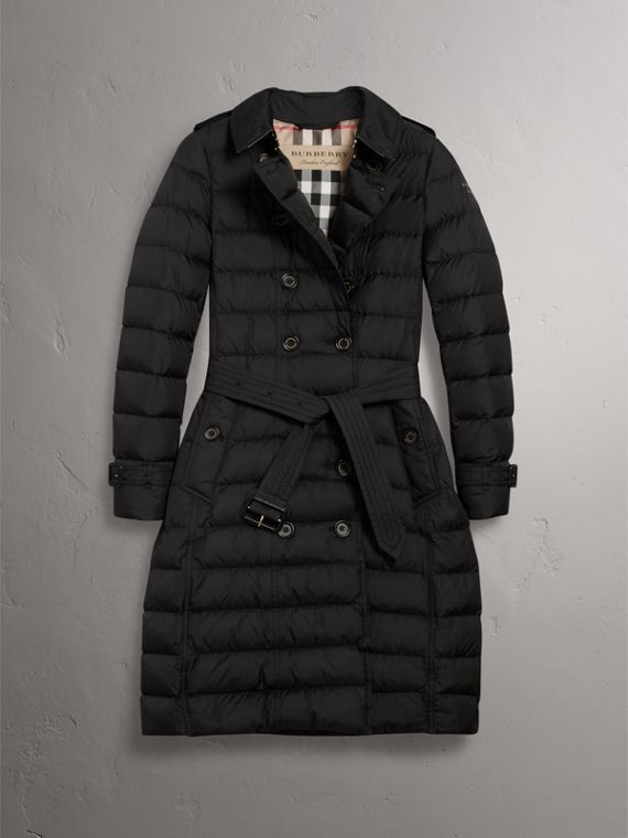 Detachable Hood Fur Trim Down-filled Puffer Coat in Black - Women | Burberry - cell image 3