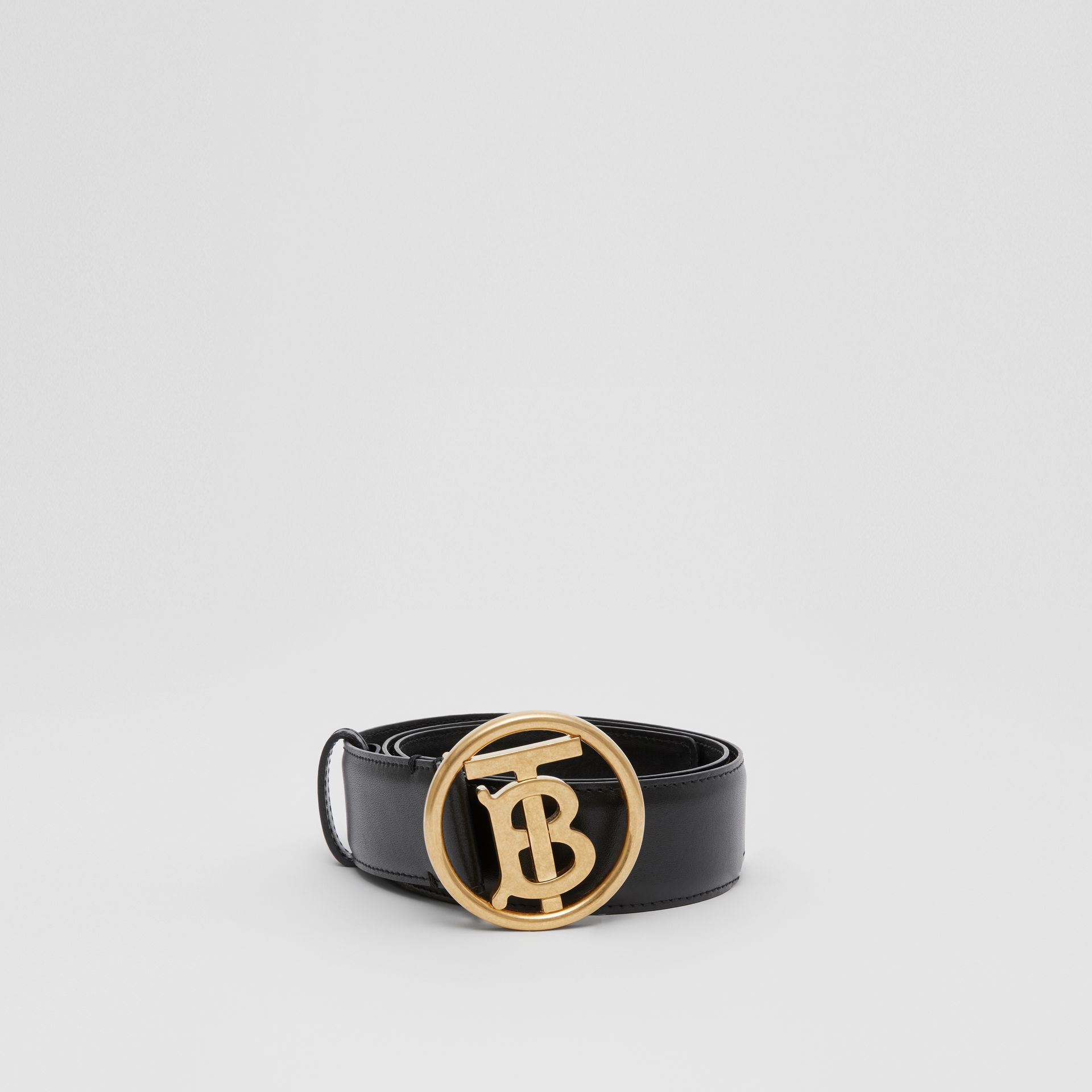 Monogram Motif Leather Belt in Black - Women | Burberry - gallery image 3
