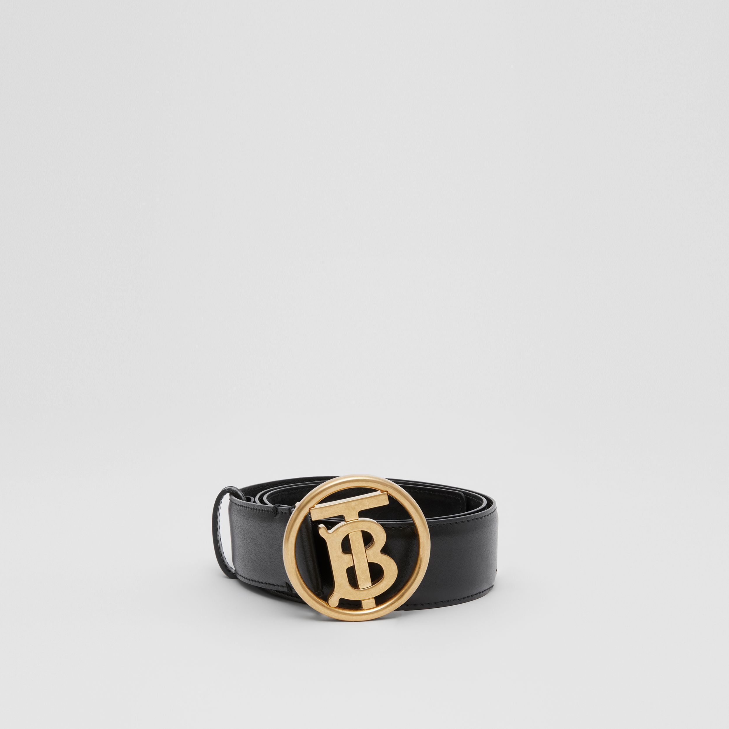 Monogram Motif Leather Belt in Black | Burberry - 4