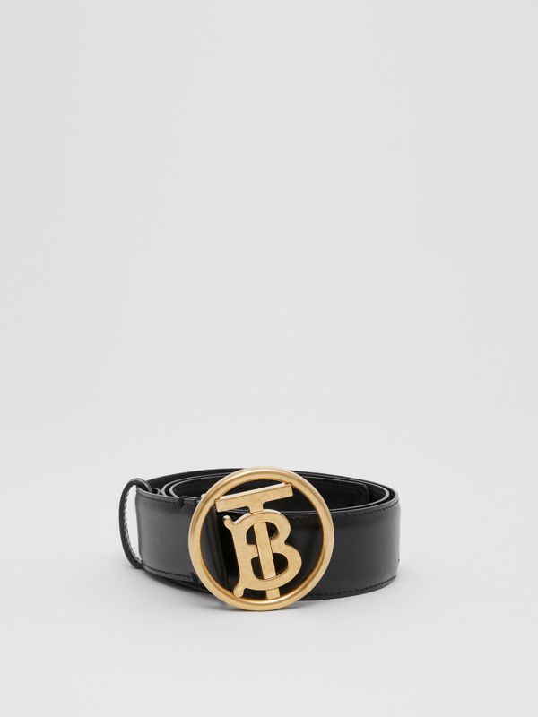 Monogram Motif Leather Belt in Black - Women | Burberry - cell image 3
