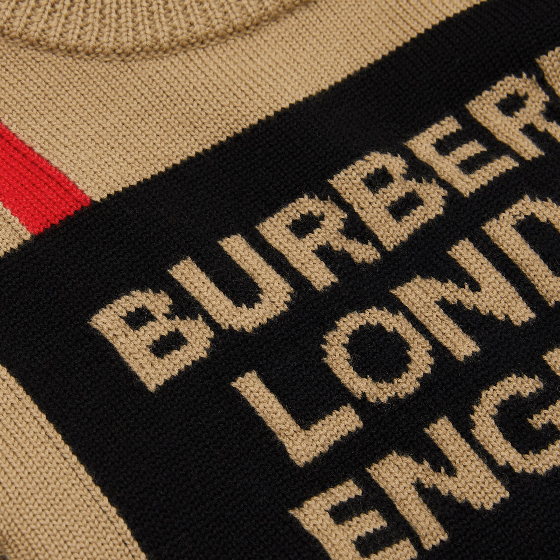 Logo and Icon Stripe Intarsia Wool Sweater in Archive Beige | Burberry - gallery image 1