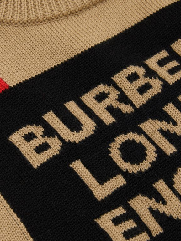 Logo and Icon Stripe Intarsia Wool Sweater in Archive Beige | Burberry - cell image 1