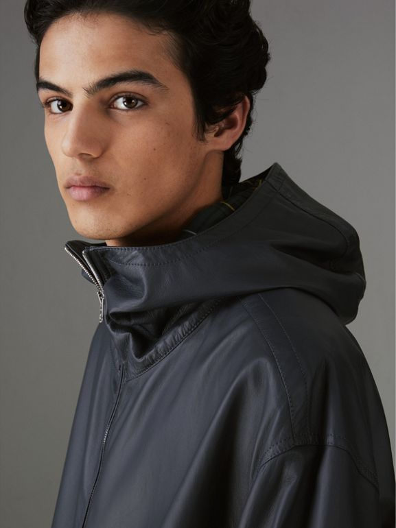 Hooded Lambskin Bomber Jacket in Navy - Men | Burberry Singapore - cell image 1