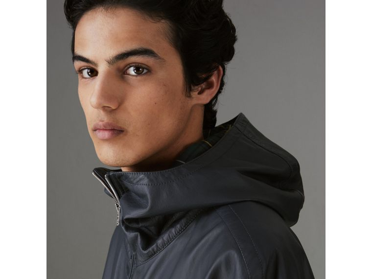 Hooded Lambskin Bomber Jacket in Navy - Men | Burberry - cell image 1