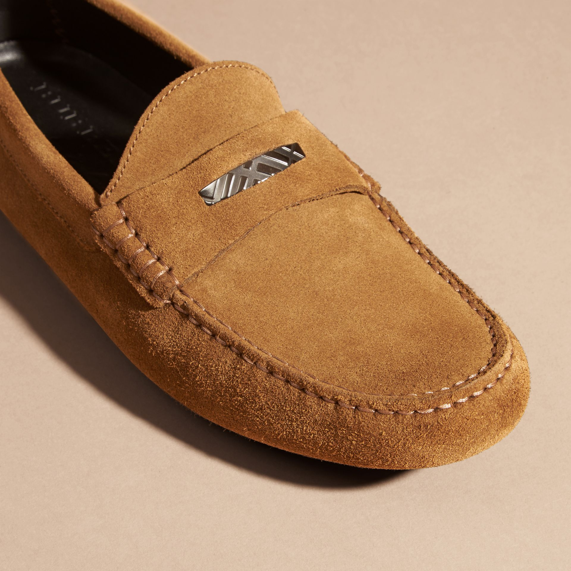 Caramel Suede Loafers with Engraved Check Detail Caramel - gallery image 2