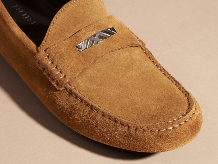 Caramel Suede Loafers with Engraved Check Detail Caramel - cell image 1