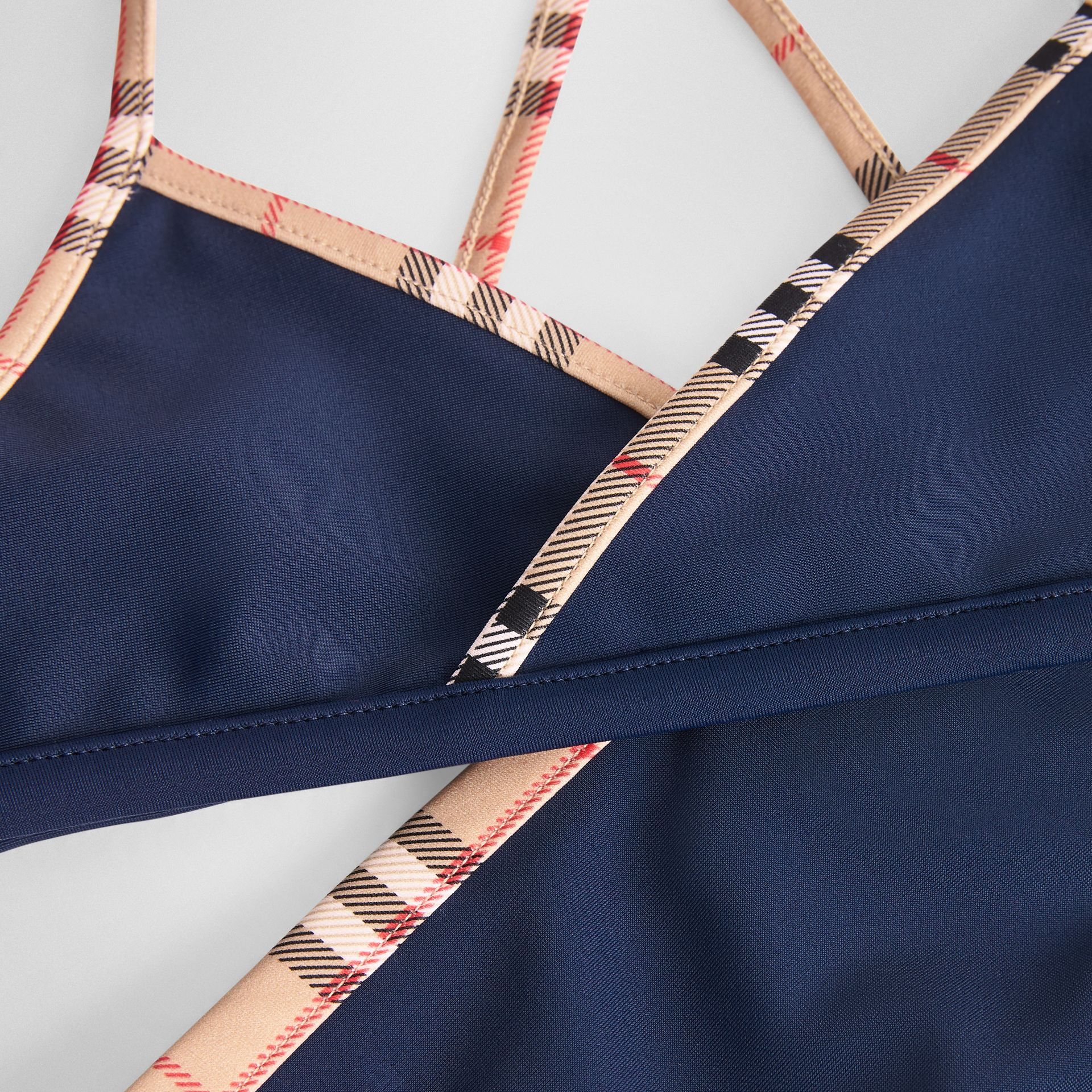Check Trim Bikini in Navy - Girl | Burberry United Kingdom - gallery image 1