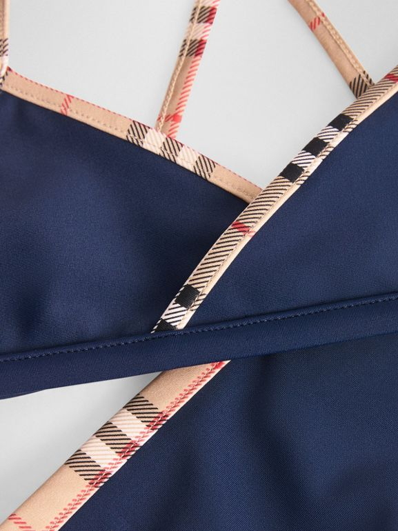 Check Trim Bikini in Navy - Girl | Burberry United Kingdom - cell image 1