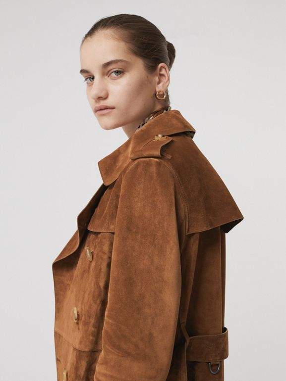 Suede Trench Coat in Sepia Brown - Women | Burberry - cell image 1