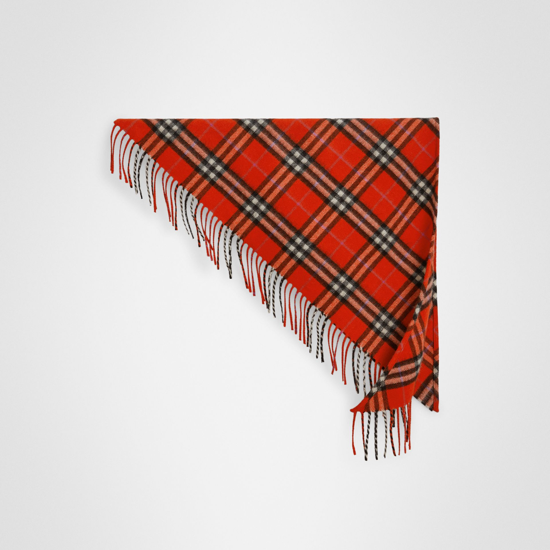 The Mini Burberry Bandana in Check Cashmere in Bright Red | Burberry Canada - gallery image 0