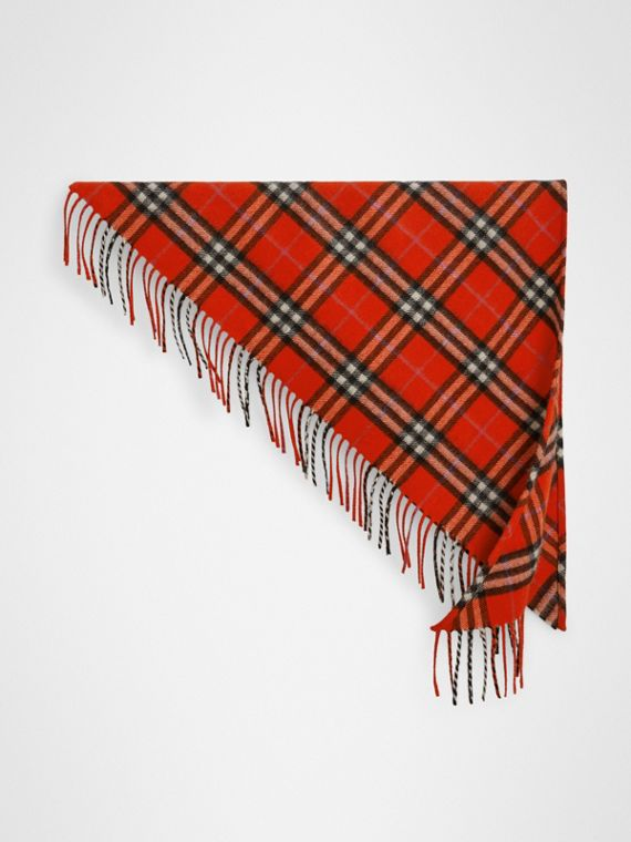 The Mini Burberry Bandana in Check Cashmere in Bright Red