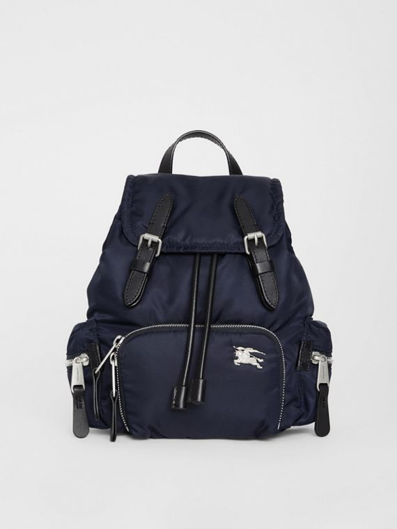 The Small Crossbody Rucksack in Puffer Nylon in Ink Blue